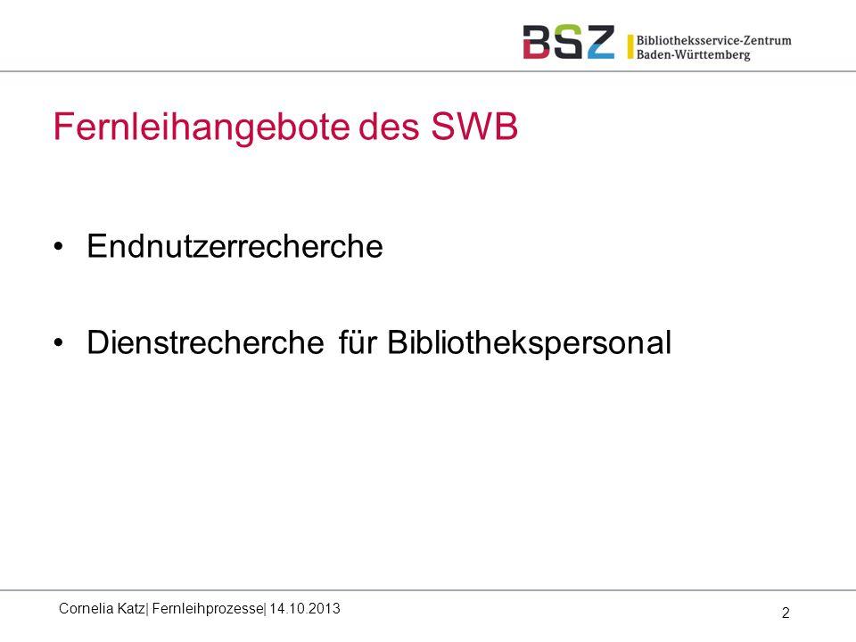 2 Fernleihangebote des SWB Cornelia Katz| Fernleihprozesse| 14.10.2013 Endnutzerrecherche Dienstrecherche für Bibliothekspersonal