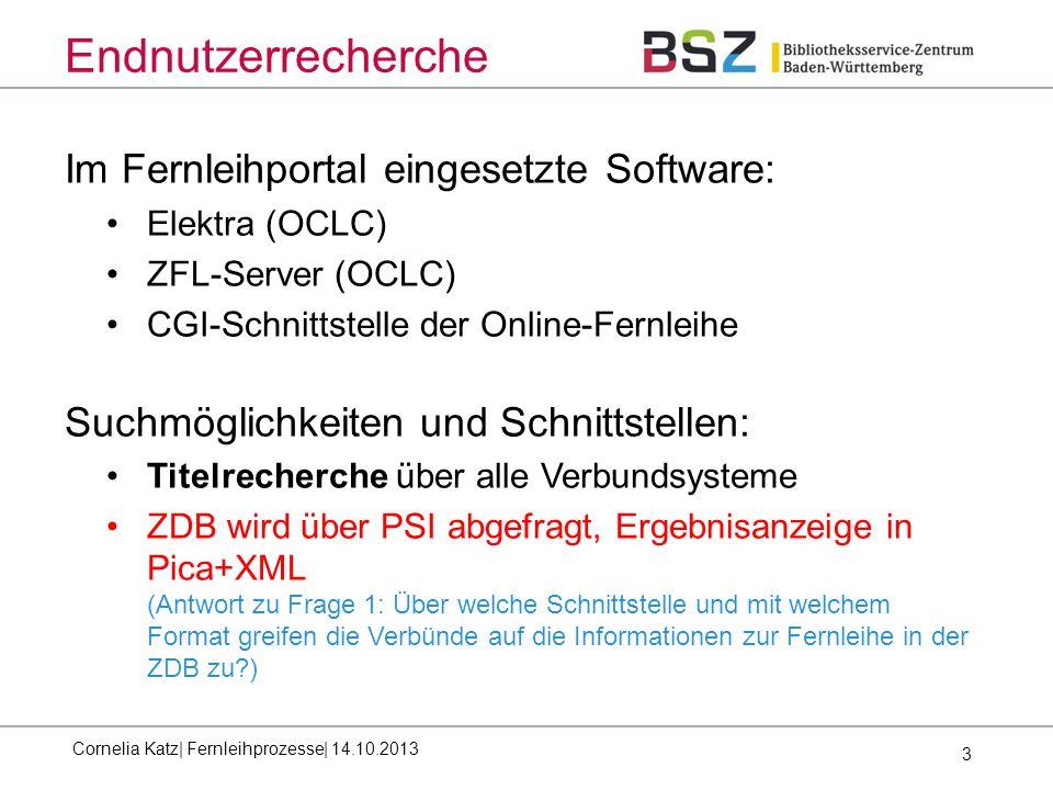 3 Endnutzerrecherche Im Fernleihportal eingesetzte Software: Elektra (OCLC) ZFL-Server (OCLC) CGI-Schnittstelle der Online-Fernleihe Suchmöglichkeiten und Schnittstellen: Titelrecherche über alle Verbundsysteme ZDB wird über PSI abgefragt, Ergebnisanzeige in Pica+XML (Antwort zu Frage 1: Über welche Schnittstelle und mit welchem Format greifen die Verbünde auf die Informationen zur Fernleihe in der ZDB zu ) Cornelia Katz| Fernleihprozesse| 14.10.2013