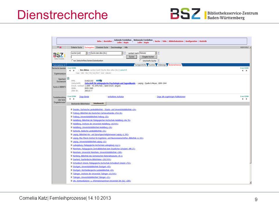 9 Dienstrecherche Cornelia Katz| Fernleihprozesse| 14.10.2013