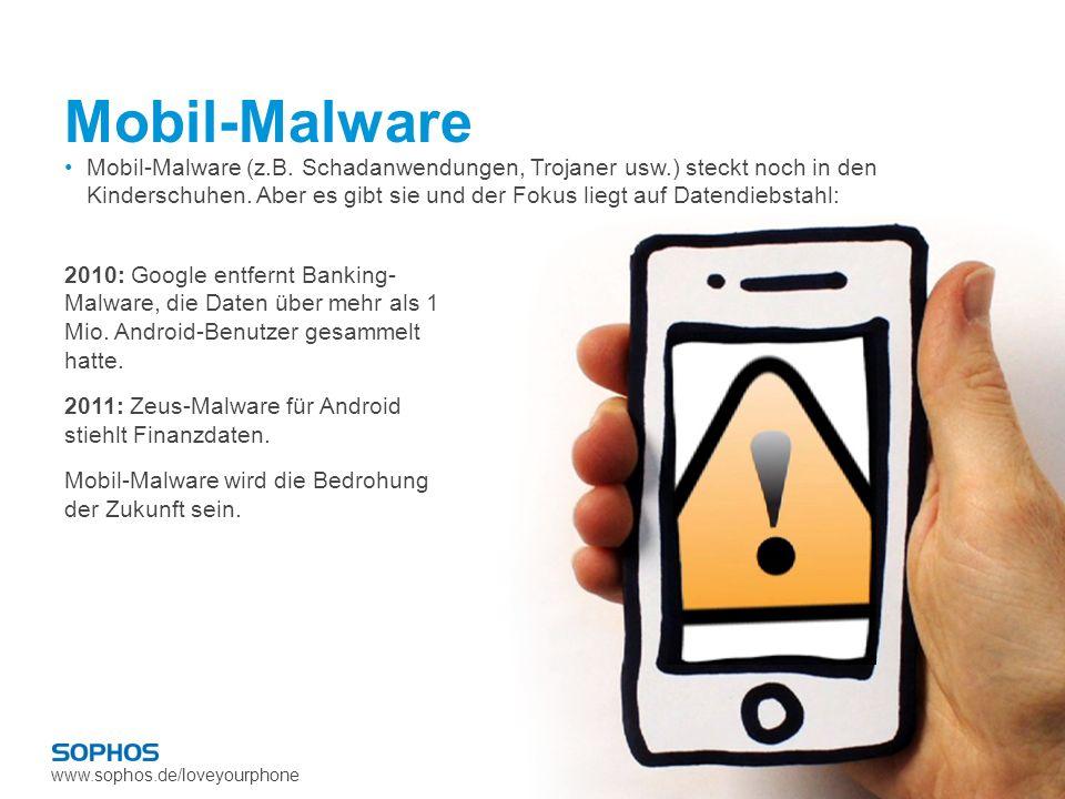 www.sophos.de/loveyourphone Mobil-Malware 2010: Google entfernt Banking- Malware, die Daten über mehr als 1 Mio. Android-Benutzer gesammelt hatte. 201