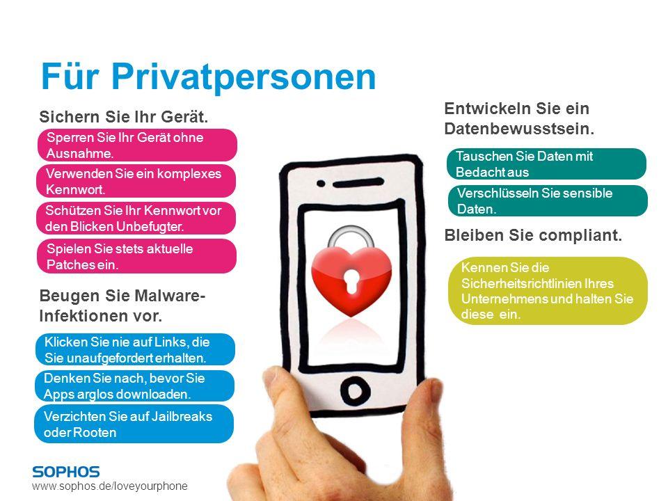 www.sophos.de/loveyourphone Für Privatpersonen Sichern Sie Ihr Gerät. Beugen Sie Malware- Infektionen vor. Entwickeln Sie ein Datenbewusstsein. Bleibe