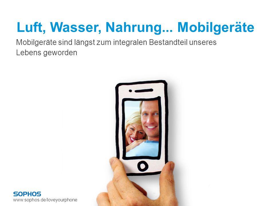 www.sophos.de/loveyourphone 72% Anstieg bei den weltweiten Smartphone-Verkäufen 2010 400x September 2009 – 0,02 % Januar 2011 – 8,09 % Anstieg des mobilen Web-Traffics in UK 31% Aller US-Handybenutzer besitzen ein Smartphone Mobile Devices verkauft im Jahr 2010 1,6 Mrd.