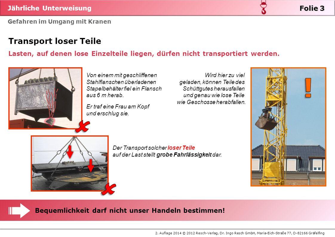 Jährliche Unterweisung 2. Auflage 2014 © 2012 Resch-Verlag, Dr. Ingo Resch GmbH, Maria-Eich-Straße 77, D-82166 Gräfelfing Gefahren im Umgang mit Krane