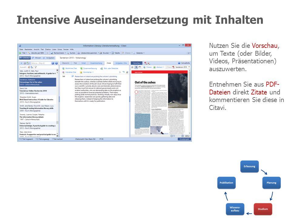 Intensive Auseinandersetzung mit Inhalten Nutzen Sie die Vorschau, um Texte (oder Bilder, Videos, Präsentationen) auszuwerten. Entnehmen Sie aus PDF-