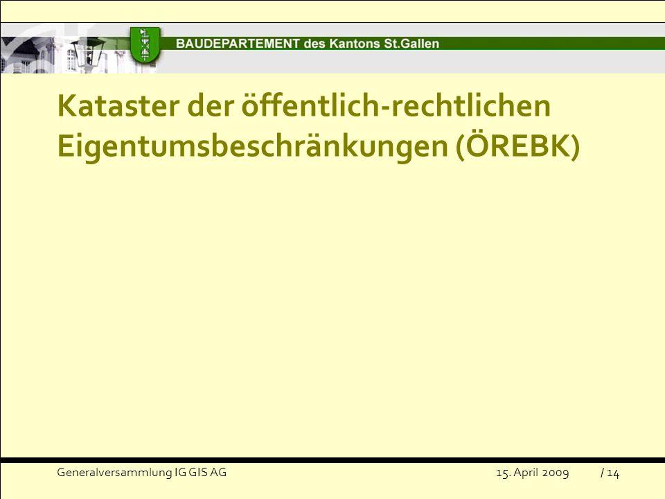 Kataster der öffentlich-rechtlichen Eigentumsbeschränkungen (ÖREBK) Generalversammlung IG GIS AG15.