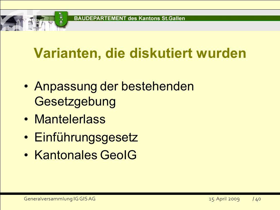 Varianten, die diskutiert wurden Anpassung der bestehenden Gesetzgebung Mantelerlass Einführungsgesetz Kantonales GeoIG Generalversammlung IG GIS AG15.
