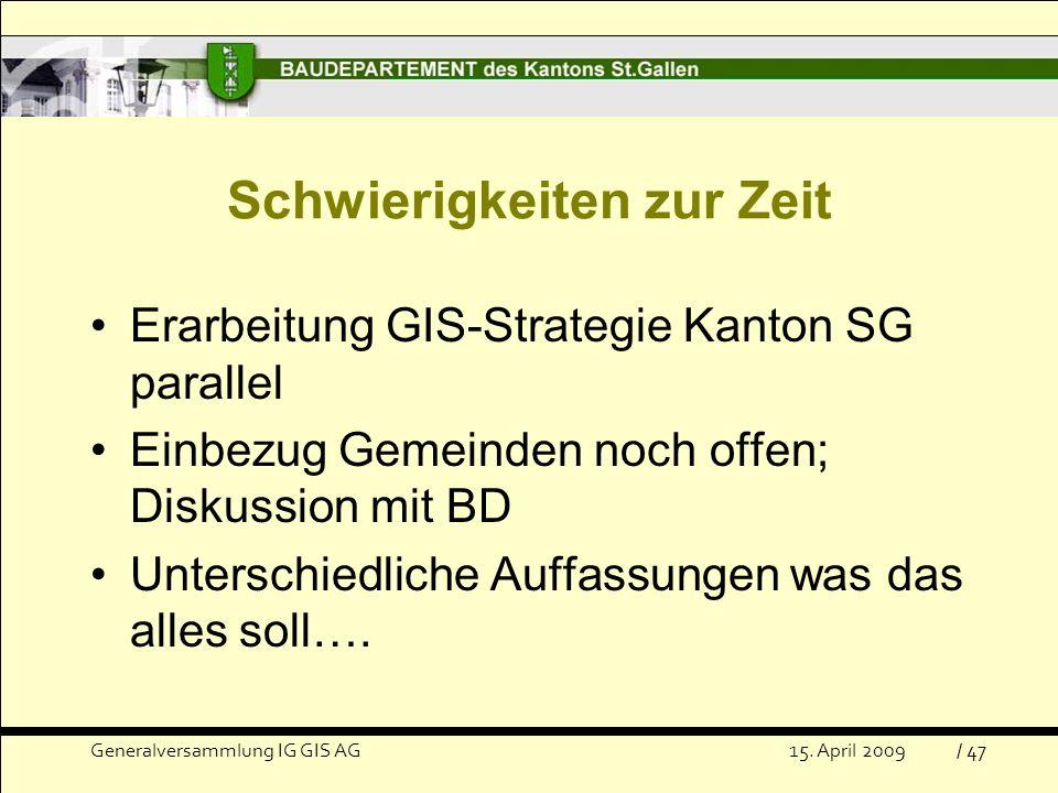 Schwierigkeiten zur Zeit Erarbeitung GIS-Strategie Kanton SG parallel Einbezug Gemeinden noch offen; Diskussion mit BD Unterschiedliche Auffassungen was das alles soll….