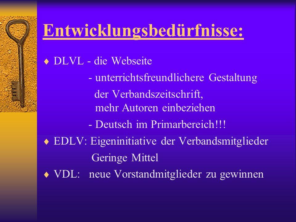 Entwicklungsbedürfnisse: DLVL - die Webseite - unterrichtsfreundlichere Gestaltung der Verbandszeitschrift, mehr Autoren einbeziehen - Deutsch im Primarbereich!!.