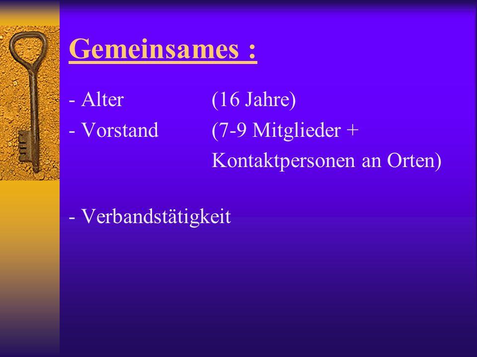 Gemeinsames : - Alter (16 Jahre) - Vorstand (7-9 Mitglieder + Kontaktpersonen an Orten) - Verbandstätigkeit