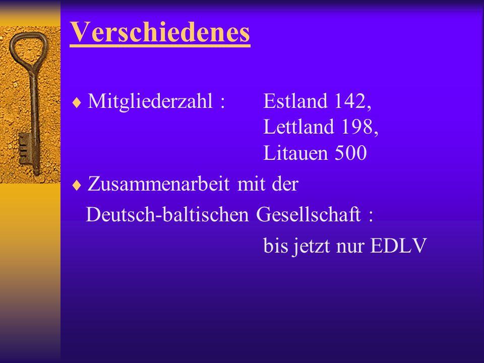 Verschiedenes Mitgliederzahl : Estland 142, Lettland 198, Litauen 500 Zusammenarbeit mit der Deutsch-baltischen Gesellschaft : bis jetzt nur EDLV