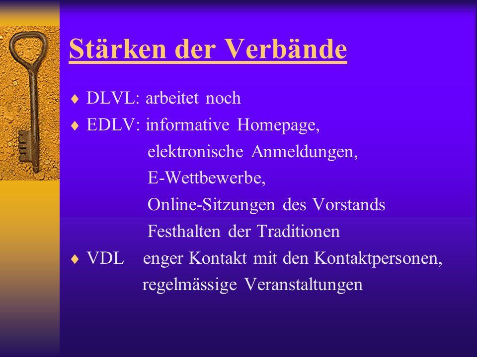 Stärken der Verbände DLVL: arbeitet noch EDLV: informative Homepage, elektronische Anmeldungen, E-Wettbewerbe, Online-Sitzungen des Vorstands Festhalten der Traditionen VDL enger Kontakt mit den Kontaktpersonen, regelmässige Veranstaltungen