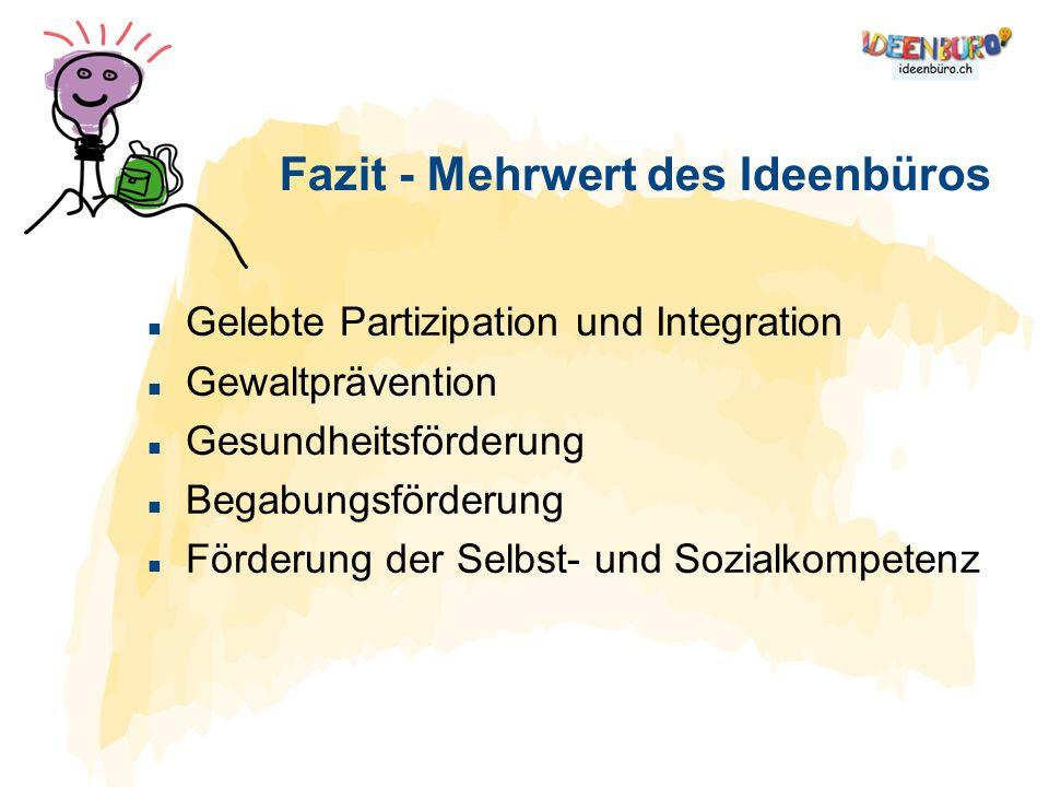 Gelebte Partizipation und Integration Gewaltprävention Gesundheitsförderung Begabungsförderung Förderung der Selbst- und Sozialkompetenz Fazit - Mehrw
