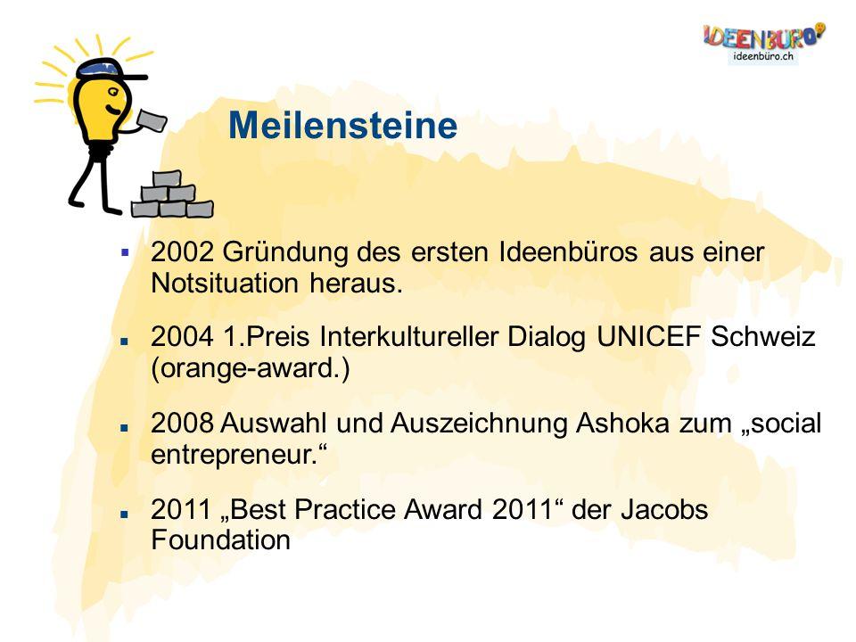Meilensteine 2002 Gründung des ersten Ideenbüros aus einer Notsituation heraus. 2004 1.Preis Interkultureller Dialog UNICEF Schweiz (orange-award.) 20