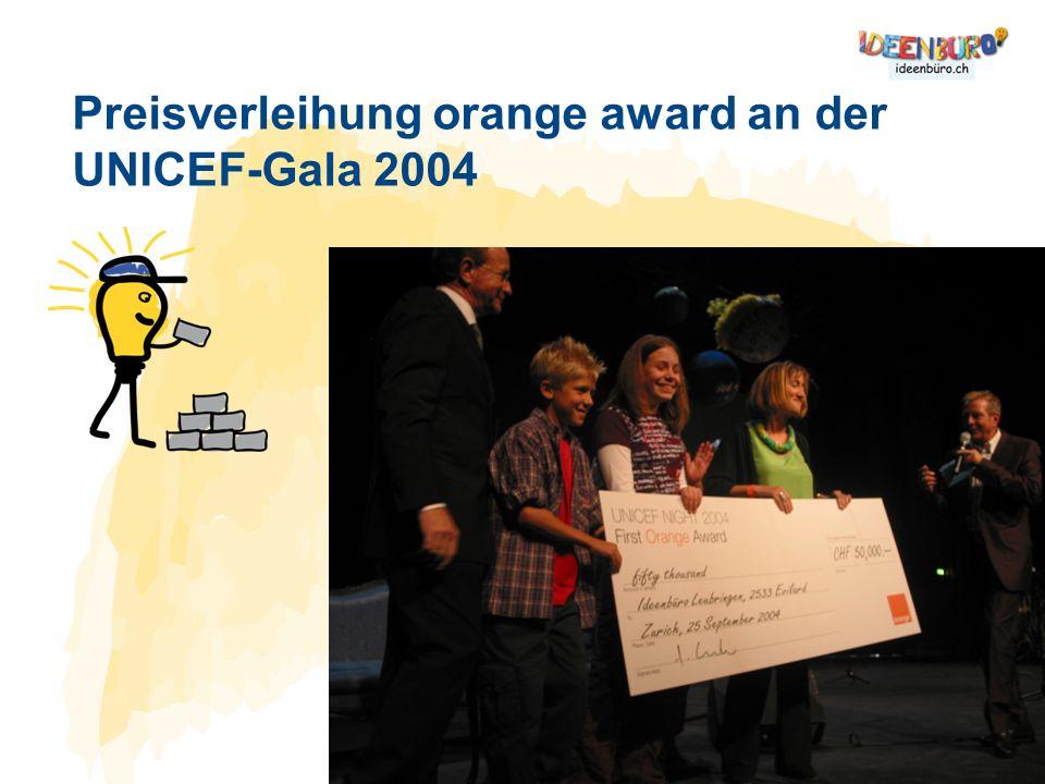Preisverleihung orange award an der UNICEF-Gala 2004