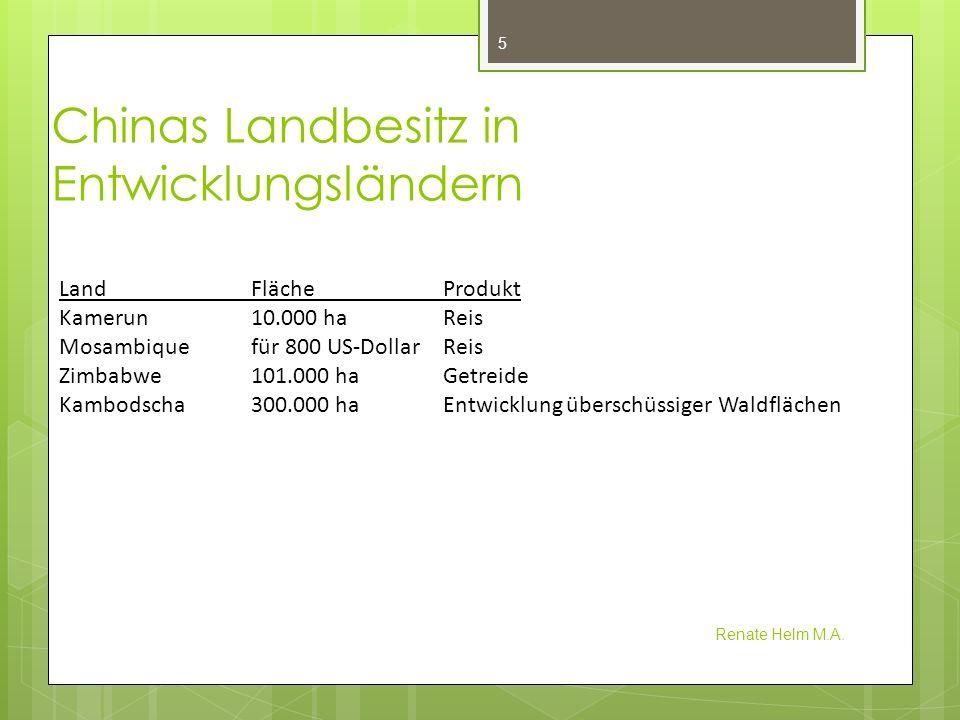 Chinas Landbesitz in Entwicklungsländern Renate Helm M.A. 5 Land Fläche Produkt Kamerun10.000 haReis Mosambiquefür 800 US-DollarReis Zimbabwe101.000 h