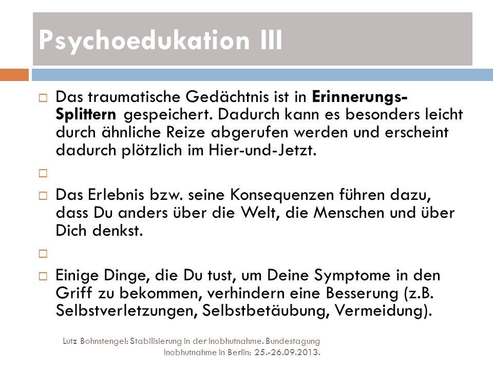 Psychoedukation III Lutz Bohnstengel: Stabilisierung in der Inobhutnahme. Bundestagung Inobhutnahme in Berlin: 25.-26.09.2013. Das traumatische Gedäch