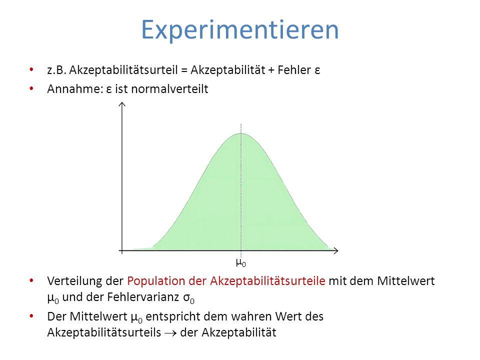 Experimentieren z.B. Akzeptabilitätsurteil = Akzeptabilität + Fehler ε Annahme: ε ist normalverteilt Verteilung der Population der Akzeptabilitätsurte