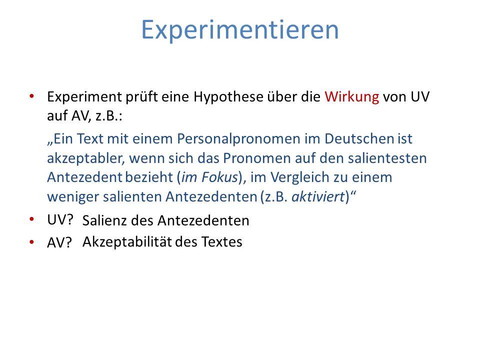 Experimentieren Experiment prüft eine Hypothese über die Wirkung von UV auf AV, z.B.: Ein Text mit einem Personalpronomen im Deutschen ist akzeptabler