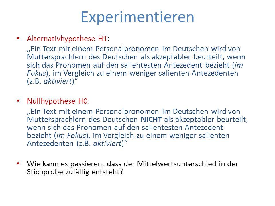 Experimentieren Alternativhypothese H1: Ein Text mit einem Personalpronomen im Deutschen wird von Muttersprachlern des Deutschen als akzeptabler beurt