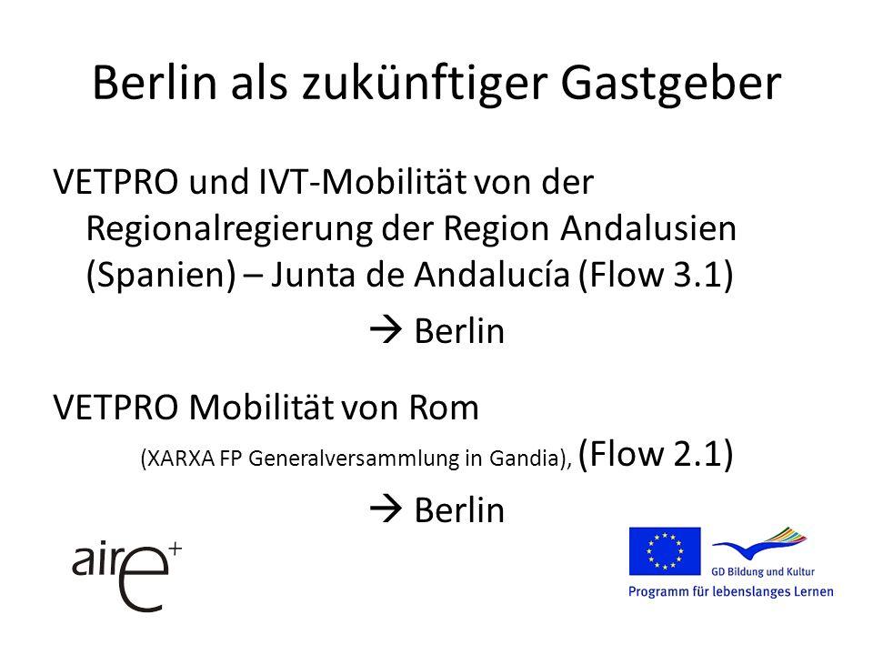 Berlin als zukünftiger Gastgeber VETPRO und IVT-Mobilität von der Regionalregierung der Region Andalusien (Spanien) – Junta de Andalucía (Flow 3.1) Berlin VETPRO Mobilität von Rom (XARXA FP Generalversammlung in Gandia), (Flow 2.1) Berlin