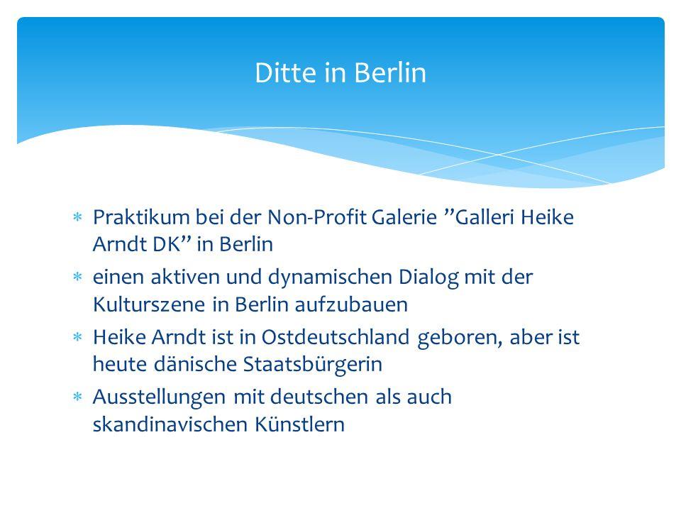 Praktikum bei der Non-Profit Galerie Galleri Heike Arndt DK in Berlin einen aktiven und dynamischen Dialog mit der Kulturszene in Berlin aufzubauen Heike Arndt ist in Ostdeutschland geboren, aber ist heute dänische Staatsbürgerin Ausstellungen mit deutschen als auch skandinavischen Künstlern Ditte in Berlin