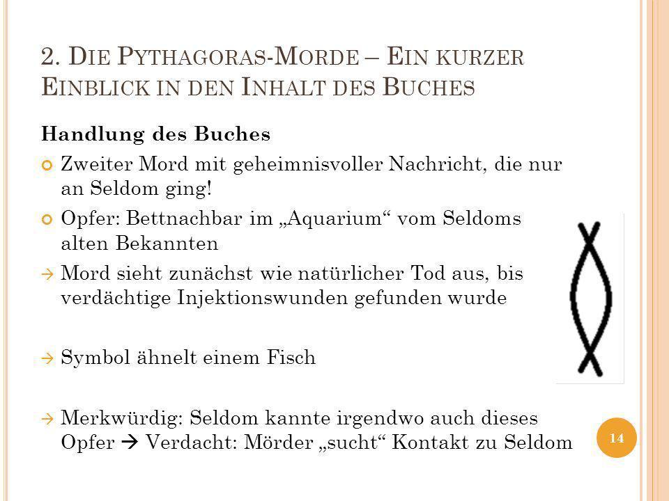 2. D IE P YTHAGORAS -M ORDE – E IN KURZER E INBLICK IN DEN I NHALT DES B UCHES Handlung des Buches Zweiter Mord mit geheimnisvoller Nachricht, die nur