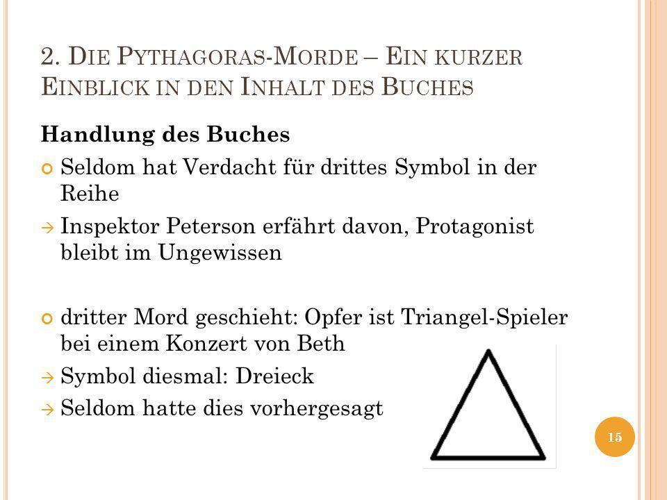 2. D IE P YTHAGORAS -M ORDE – E IN KURZER E INBLICK IN DEN I NHALT DES B UCHES Handlung des Buches Seldom hat Verdacht für drittes Symbol in der Reihe