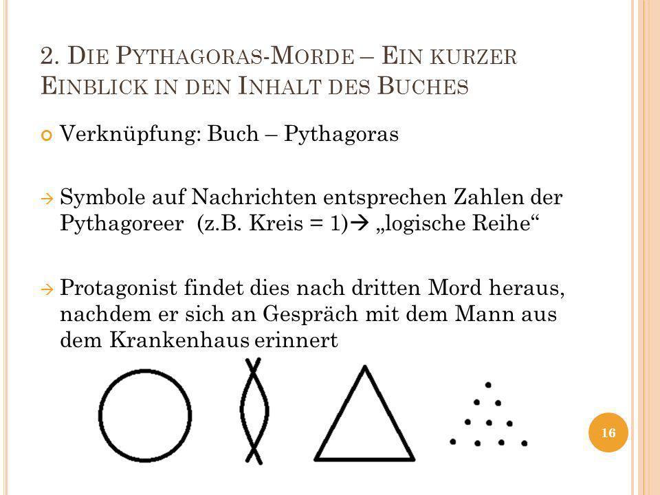 2. D IE P YTHAGORAS -M ORDE – E IN KURZER E INBLICK IN DEN I NHALT DES B UCHES Verknüpfung: Buch – Pythagoras Symbole auf Nachrichten entsprechen Zahl