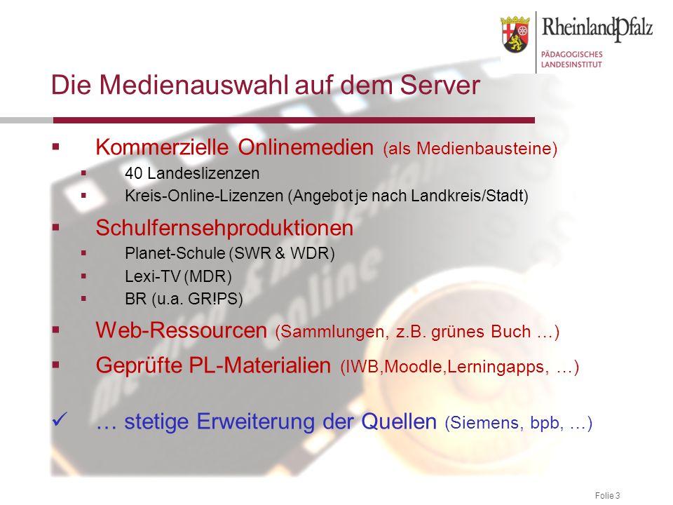 Folie 3 Die Medienauswahl auf dem Server Kommerzielle Onlinemedien (als Medienbausteine) 40 Landeslizenzen Kreis-Online-Lizenzen (Angebot je nach Land