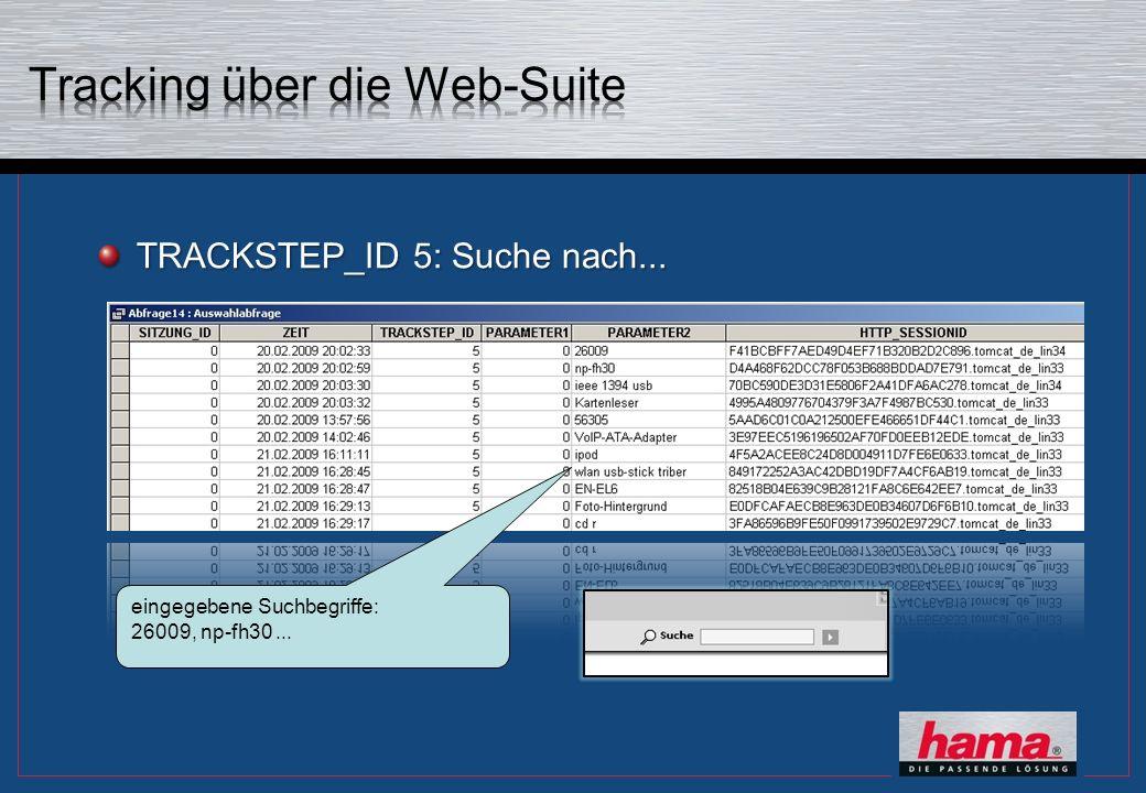 TRACKSTEP_ID 5: Suche nach... eingegebene Suchbegriffe: 26009, np-fh30...