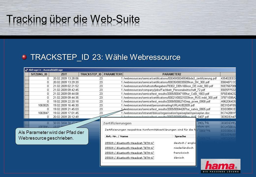 TRACKSTEP_ID 23: Wähle Webressource Als Parameter wird der Pfad der Webresource geschrieben.