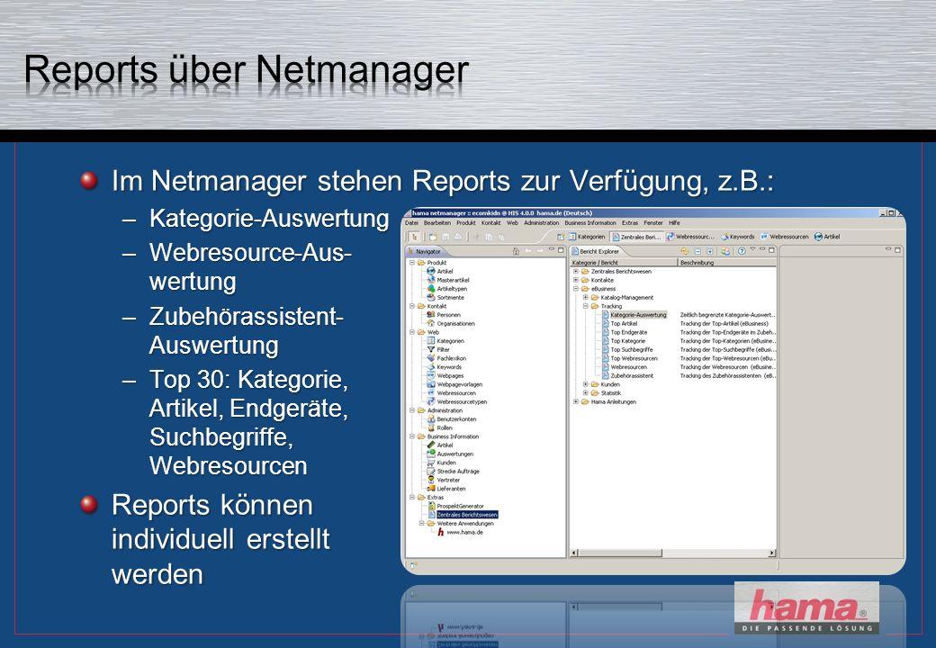 Im Netmanager stehen Reports zur Verfügung, z.B.: –Kategorie-Auswertung –Webresource-Aus- wertung –Zubehörassistent- Auswertung –Top 30: Kategorie, Artikel, Endgeräte, Suchbegriffe, Webresourcen Reports können individuell erstellt werden