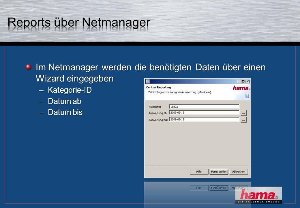Im Netmanager werden die benötigten Daten über einen Wizard eingegeben –Kategorie-ID –Datum ab –Datum bis