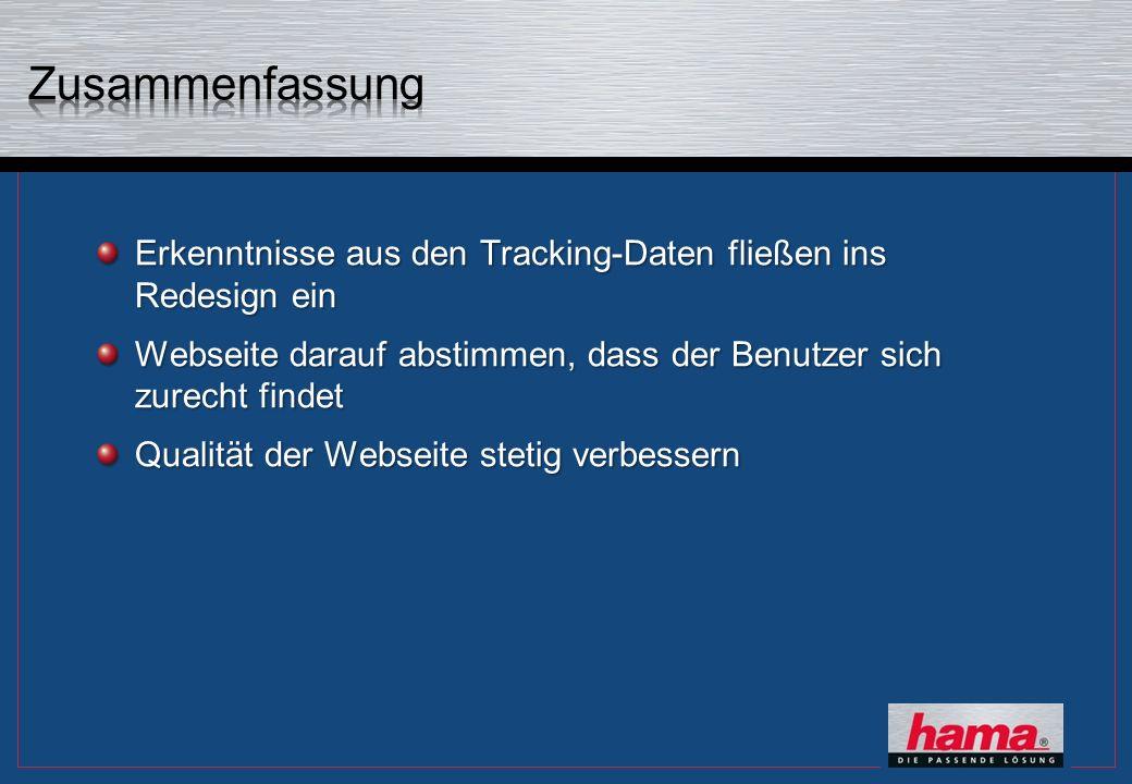Erkenntnisse aus den Tracking-Daten fließen ins Redesign ein Webseite darauf abstimmen, dass der Benutzer sich zurecht findet Qualität der Webseite st