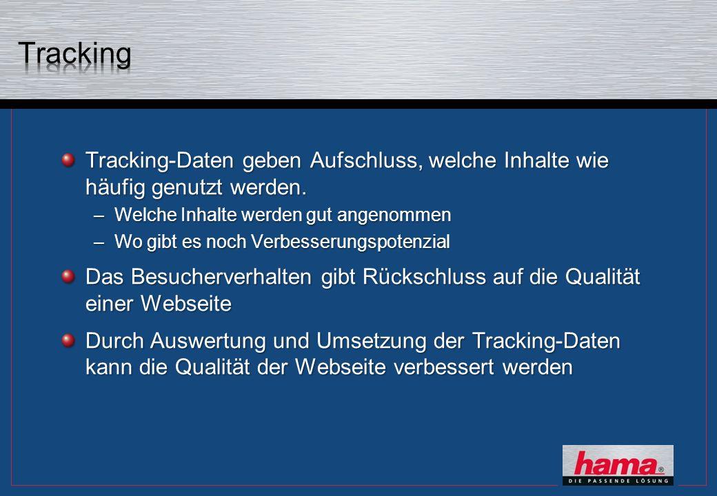 Tracking-Daten geben Aufschluss, welche Inhalte wie häufig genutzt werden. –Welche Inhalte werden gut angenommen –Wo gibt es noch Verbesserungspotenzi