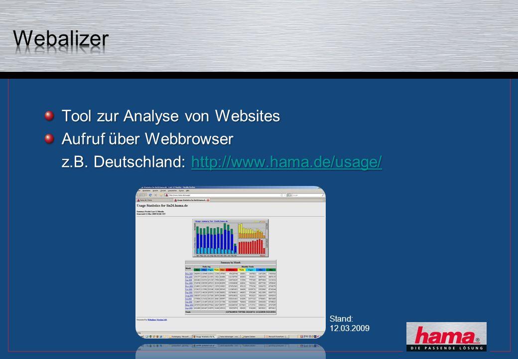 Tool zur Analyse von Websites Aufruf über Webbrowser z.B. Deutschland: http://www.hama.de/usage/ http://www.hama.de/usage/ Stand: 12.03.2009