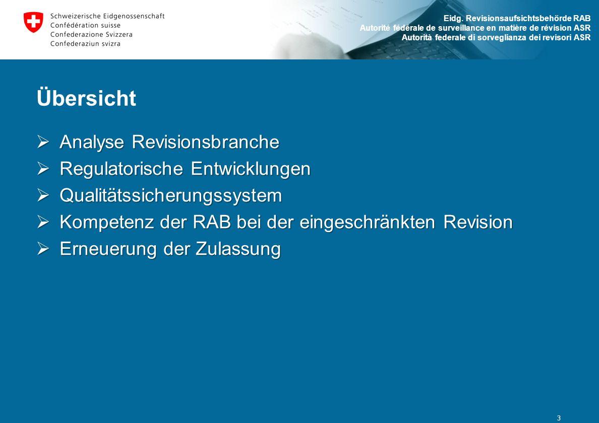 Eidg. Revisionsaufsichtsbehörde RAB Autorité fédérale de surveillance en matière de révision ASR Autorità federale di sorveglianza dei revisori ASR Üb