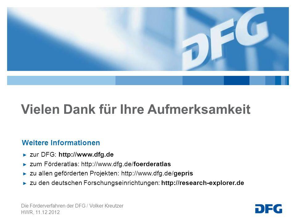 Vielen Dank für Ihre Aufmerksamkeit Weitere Informationen zur DFG: http://www.dfg.de zum Förderatlas: http://www.dfg.de/foerderatlas zu allen geförder