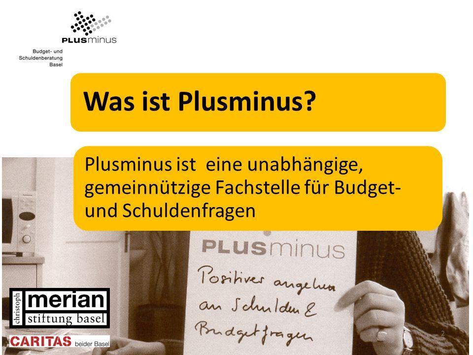 Was ist Plusminus? Plusminus ist eine unabhängige, gemeinnützige Fachstelle für Budget- und Schuldenfragen 2