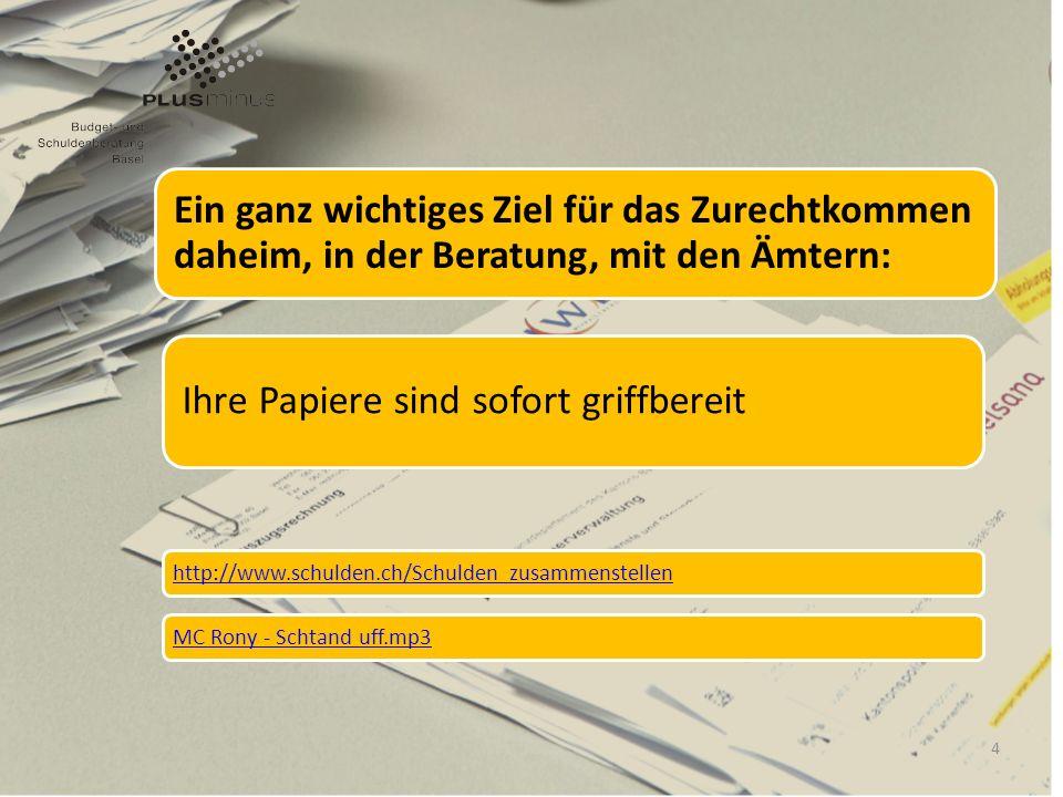 Ein ganz wichtiges Ziel für das Zurechtkommen daheim, in der Beratung, mit den Ämtern: Ihre Papiere sind sofort griffbereit http://www.schulden.ch/Sch