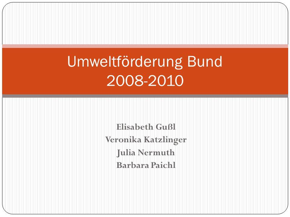 Elisabeth Gußl Veronika Katzlinger Julia Nermuth Barbara Paichl Umweltförderung Bund 2008-2010