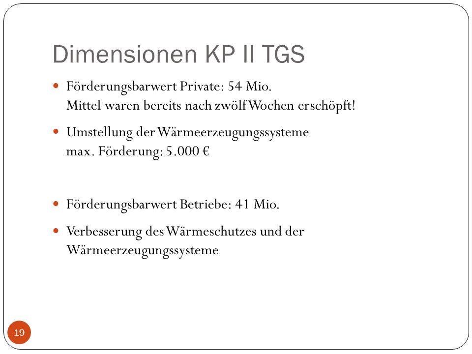 Dimensionen KP II TGS Förderungsbarwert Private: 54 Mio. Mittel waren bereits nach zwölf Wochen erschöpft! Umstellung der Wärmeerzeugungssysteme max.