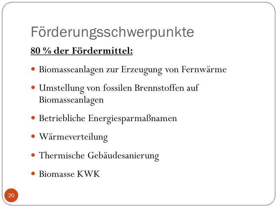 Förderungsschwerpunkte 80 % der Fördermittel: Biomasseanlagen zur Erzeugung von Fernwärme Umstellung von fossilen Brennstoffen auf Biomasseanlagen Bet