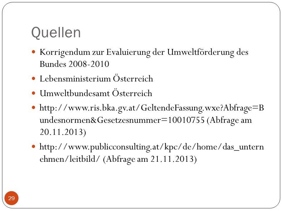 Quellen Korrigendum zur Evaluierung der Umweltförderung des Bundes 2008-2010 Lebensministerium Österreich Umweltbundesamt Österreich http://www.ris.bk