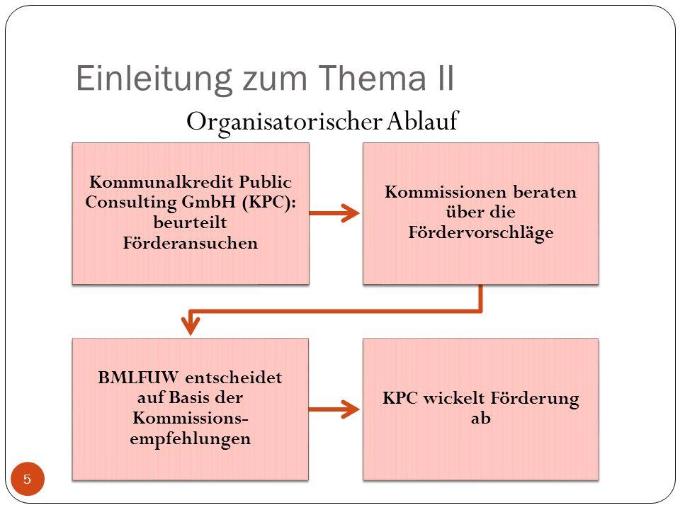 Einleitung zum Thema II Kommunalkredit Public Consulting GmbH (KPC): beurteilt Förderansuchen Kommissionen beraten über die Fördervorschläge BMLFUW en