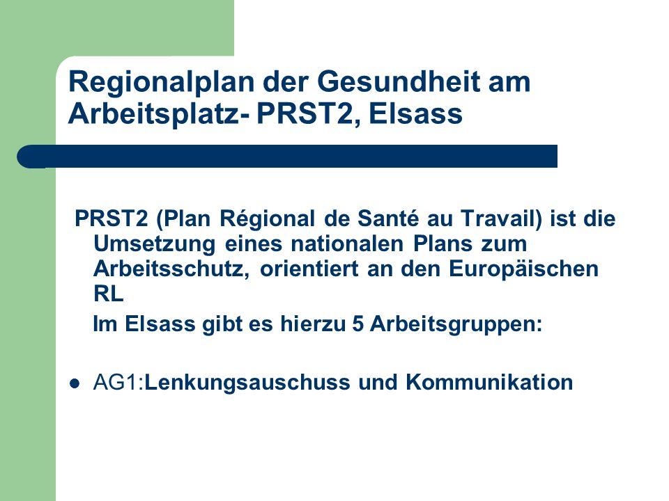 Regionalplan der Gesundheit am Arbeitsplatz- PRST2, Elsass PRST2 (Plan Régional de Santé au Travail) ist die Umsetzung eines nationalen Plans zum Arbeitsschutz, orientiert an den Europäischen RL Im Elsass gibt es hierzu 5 Arbeitsgruppen: AG1:Lenkungsauschuss und Kommunikation