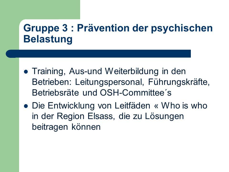 Gruppe 3 : Prävention der psychischen Belastung Training, Aus-und Weiterbildung in den Betrieben: Leitungspersonal, Führungskräfte, Betriebsräte und OSH-Committee´s Die Entwicklung von Leitfäden « Who is who in der Region Elsass, die zu Lösungen beitragen können