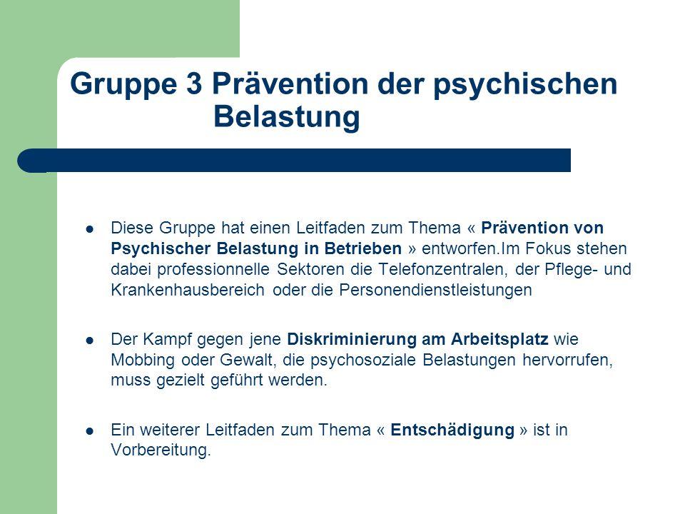 Gruppe 3 Prävention der psychischen Belastung Diese Gruppe hat einen Leitfaden zum Thema « Prävention von Psychischer Belastung in Betrieben » entworf