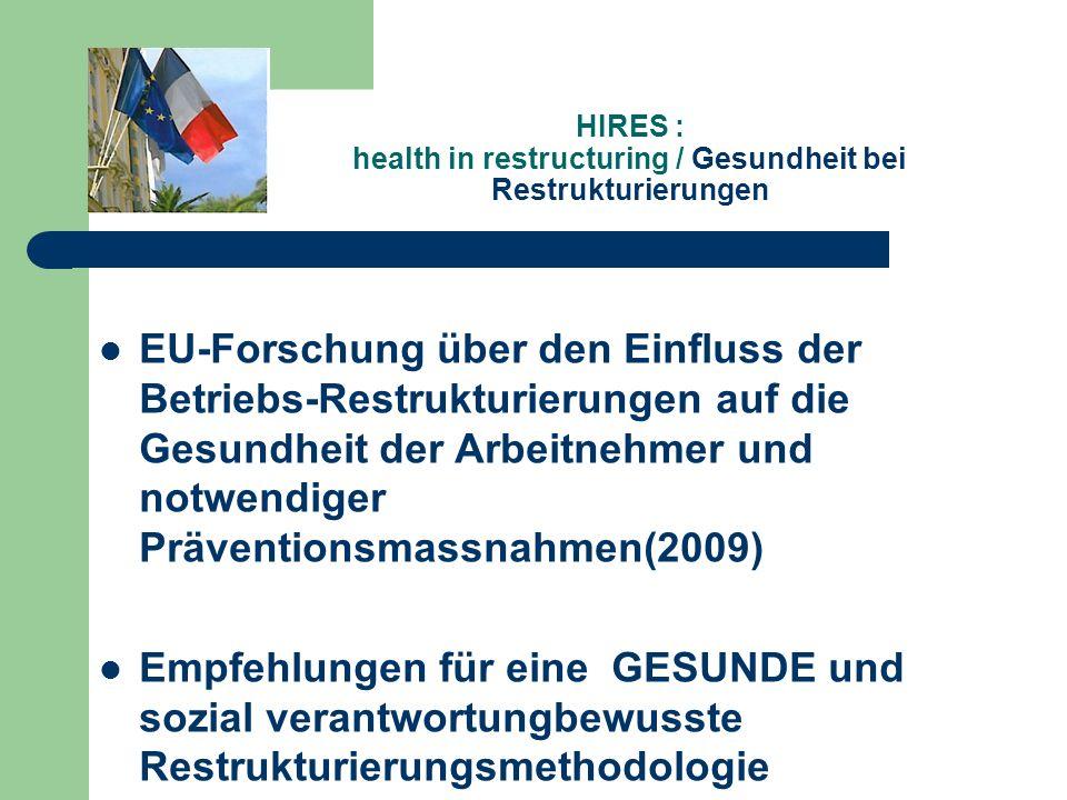 HIRES : health in restructuring / Gesundheit bei Restrukturierungen EU-Forschung über den Einfluss der Betriebs-Restrukturierungen auf die Gesundheit der Arbeitnehmer und notwendiger Präventionsmassnahmen(2009) Empfehlungen für eine GESUNDE und sozial verantwortungbewusste Restrukturierungsmethodologie