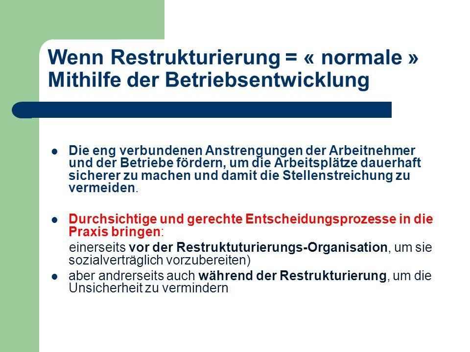 Wenn Restrukturierung = « normale » Mithilfe der Betriebsentwicklung Die eng verbundenen Anstrengungen der Arbeitnehmer und der Betriebe fördern, um d